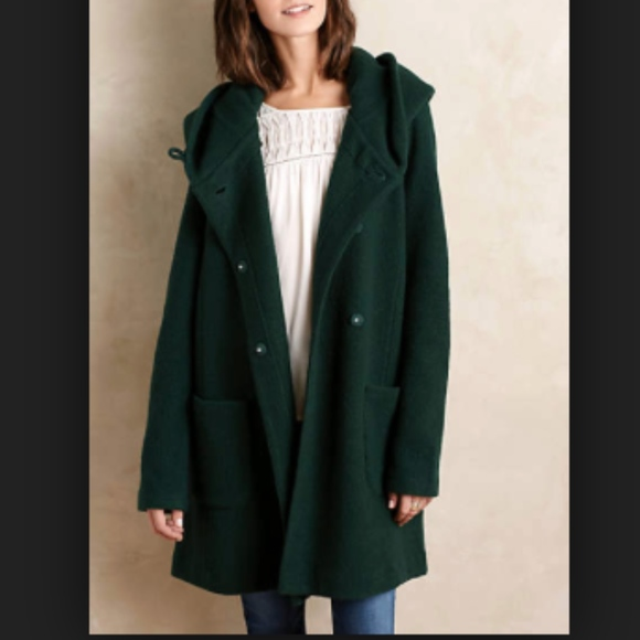 Anthropologie Jackets Coats Moth Green Boiled Wool Sweater Coat